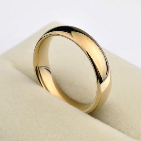 New Fashion Saya Brand 1PCS Gold Plating Couples Tungsten Wedding Rings Dome Band 5mm for Man 3.5mm for Woman Free Shipping - onlinejewelleryshopaus