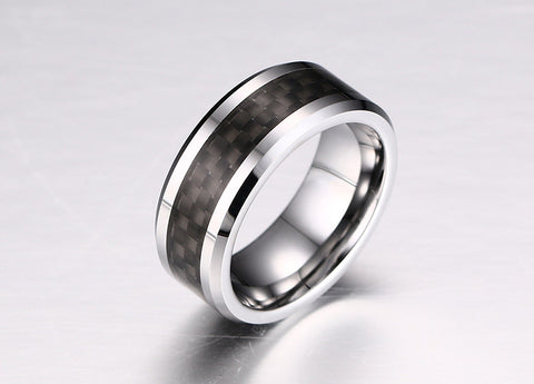 100% Tungsten Carbide Ring For Men Black Carbon Fiber Fashion Mens Jewelry - onlinejewelleryshopaus