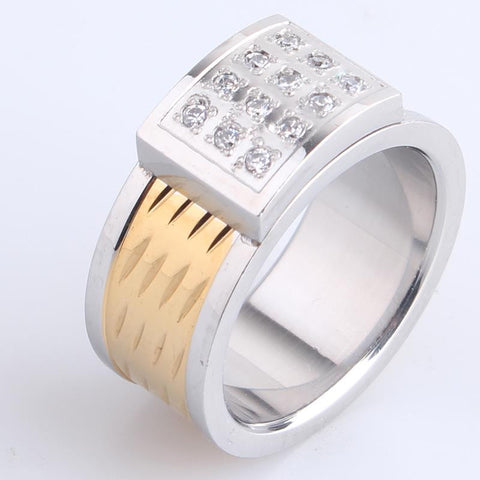 10mm shield four row Domineering crystal 316L Stainless Steel finger rings for men wholesale - onlinejewelleryshopaus
