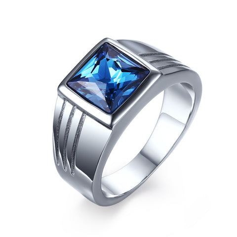 High-Quality Blue Rhinestones Stainless Steel Rings aneis for Men Wedding Band Fashion Mens Ring Jewelry SMT0733 - onlinejewelleryshopaus