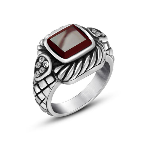 2016 Hote sales New Fashion Jewelry Stainless Steel Mens Ring Retro Gothic Engraved Red Stone Punk Rock Rings for Men,KR721 - onlinejewelleryshopaus