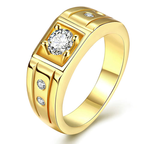 Jenia 2016 New Fashion Gold Plated Clear CZ Cubic Zirconia Womens Mens Ring Size 8/9/10 Aneis anillos CR133 - onlinejewelleryshopaus