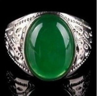 Free shipping@@@@@ Beautiful fashion Tibet Silver Green Jade men's ring size 8, 9 ,10 ,11,12 - onlinejewelleryshopaus