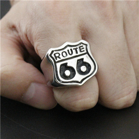 Newest Style Silver America Style Route 66 Ring Motor Biker Ring Top Quality 316L Stainless Steel Cool Mens Ring - onlinejewelleryshopaus