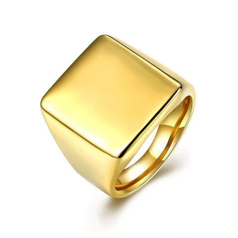 Smooth Gold Plated Square Signet Ring Boys Mens Ring Top quality 316L Stainless Steel Ring HR260-262 - onlinejewelleryshopaus