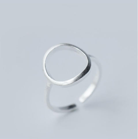 Silver Open Round Rings for Women Simple Geometric Circle Finger Ring SYJZ003 - onlinejewelleryshopaus