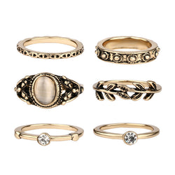 5 Pcs Vintage Ring Set Antique Alloy Nature Black Stone Midi Finger Rings For Women Turkish Jewelry - onlinejewelleryshopaus