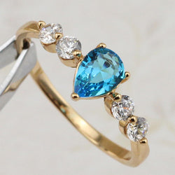 Size #7 #8 #9 #10 Stylish Classy Nice Sky Blue CZ Gems Ring Yellow Gold Plated Jewelry Gift For Women MB287C - onlinejewelleryshopaus