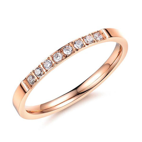 VOGUESS 2mm in Width Titanium Steel Ring Rose Gold Color 316L Stainless Titanium Steel Women Jewelry Couple Rings - onlinejewelleryshopaus