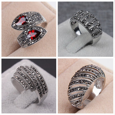 2016 Factory Vintage Jewelry Ladies Rings Tibetan Silver Plated Black Rhinestones Wedding Retro Anniversary Rings For Women - onlinejewelleryshopaus