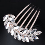 2015 New Design Wedding Party Hair Jewelry Charm Crystal Leaf Shape Hair Accessories Shiny Bridal Hair Combs XLL161 - onlinejewelleryshopaus