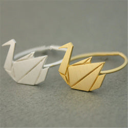 Fashion papercranes rings plane geometry folding paper rings Gold plated rings for women wholesale and mixed color - onlinejewelleryshopaus