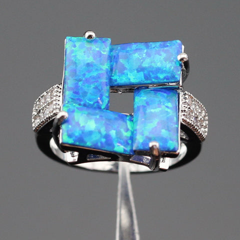 Ashley Fire Blue Opal White Crystal Silver Color Rings For Women Bridal Jewelry Christmas Gift Free  Box - onlinejewelleryshopaus