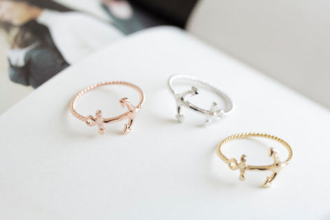 10PCS/lot  Fashion latest  gold plated silver ring simple screw anchor rings for women Wholesale free shipping - onlinejewelleryshopaus