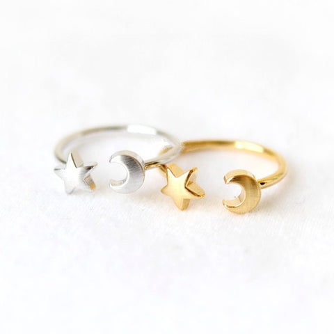 2015 New Fashion Women Rings Gold Silver and Rose Gold Plated Adjustable Crescent Moon and Tiny Star Rings for Women R161 - onlinejewelleryshopaus