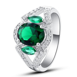 Fashion Style Fascinate Women Rings Jewelry Oval Cut Green Created Emerald Quartz 925 Silver Ring Size 7 8 9 10 Wholesale - onlinejewelleryshopaus
