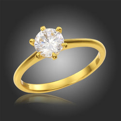 Yellow Gold Plated Solitaire Six Claw Round CZ Diamond Round Ring For Womens Engagement Wedding Jewelry Famous Bague Femme - onlinejewelleryshopaus