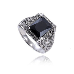 High Quality Retro Luxury Black Stones Men's Rings Platinum Plated Ring Jewelry For Women Man - onlinejewelleryshopaus