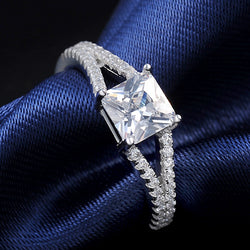 Platinum Plated with Princess Cut Zircon Crystal Women Ring Wholesale ORW30 - onlinejewelleryshopaus