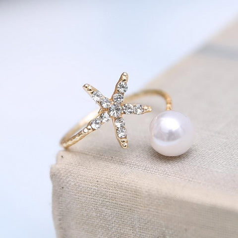 10pcs 2015 new arrive Fashion  jewelry starfish and imitation pearl rings gold plated ring  women jewelry - onlinejewelleryshopaus