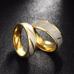 Fashion Stainless Steel Engagement Ring Set Men Women Gold Wedding Decorations Pair Of Rings For Couples TGR099-5 - onlinejewelleryshopaus