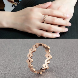 Hot Fashion Rose Gold Plated Titanium Steel Letter S Shape Cheap Finger Rings / Women Rings for Party US size 3 to 10 Available - onlinejewelleryshopaus
