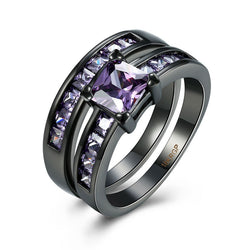 2pcs/set Black Gold Gun Plated Square Amethyst Knuckle Rings For Women Male Wedding Party Anillos CZ Retro Jewelry Accessory - onlinejewelleryshopaus