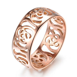 2016 Fashion Beautiful Hollow Out Camellia Ring Rose Gold Plated Women Ring  Jewelry Wholesale Titanium Metal Finger Ring Band - onlinejewelleryshopaus