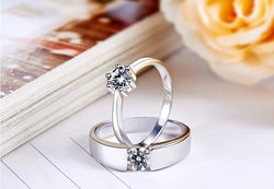 1pcs Never fade engagement silver plated jewerly accessories Women & Men wedding Couple Rings - onlinejewelleryshopaus