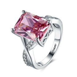 Hot Selling 18 K White Gold Anillos Jewelry Accessories Pink Square Cubic Zircon Women Ring Romantic Femme Bague Wedding Party - onlinejewelleryshopaus