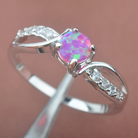 Simple Design Pink Fire Opal AAA  Zirconia For Women Stamped 925 Silver Jewelry Rings Free Shipping Size 6 7 8 9 PA056 - onlinejewelleryshopaus