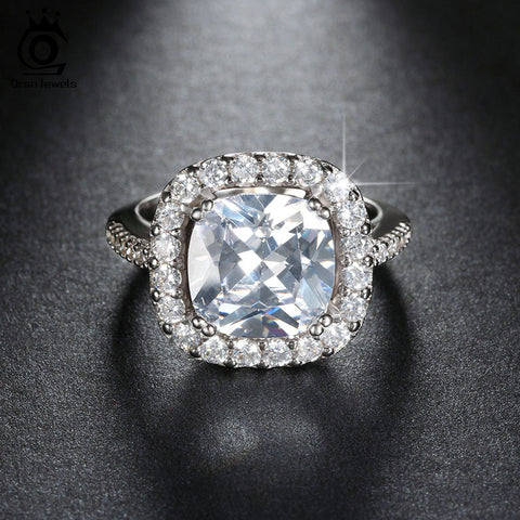 20% Off Big Size 5 Carat Micro Paved Brilliant AAA Austrian Crystal Rings for Women Engagement&Wedding Jewelry ORW96 - onlinejewelleryshopaus