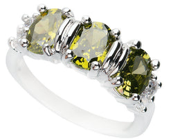 Good-Looking Olivine Peridot 5*7mm Semi-precious Stone Silver cool for women Ring Q1070 - onlinejewelleryshopaus