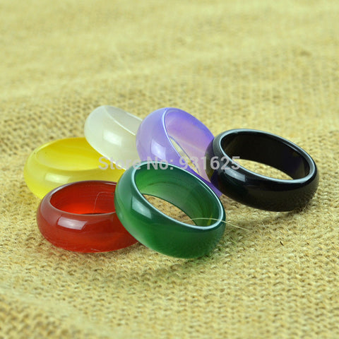 12mm Wide Natural Agate Lucky ring Party Lover's Jade rings Large Round Wider Ring women and men Clear Ring Fashion Jewelry - onlinejewelleryshopaus