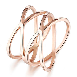 2016 Personality Double X Rose Gold Rings Fashionable Stainless Steel Ring  Party Men and Women Anel Feminino Anillos RS272 - onlinejewelleryshopaus