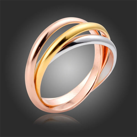 Famous Desgin Three Mix Color Wedding Engagement Rings For Women Jewelry  Yellow Rose White Gold Plated Circle bagues anel - onlinejewelleryshopaus