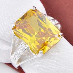 Fashion New Special Design Xmas Gift Gorgeous Shiny Yellow Zircon Xmas Gift Zircon Rings for Women Men - onlinejewelleryshopaus