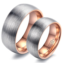 Fashion Lovers Rings Tungsten Steel Wedding Engagement Promise Band Rose Gold or Black Color Men Women Top Quality Never Fade - onlinejewelleryshopaus