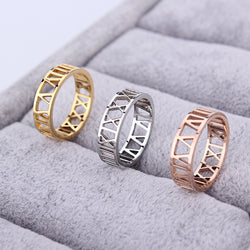 Fashion Roman Numerals Ring Silver Rose Gold 3 Colors Stainless Steel Hollow Numbers Finger Rings Jewelry For Women - onlinejewelleryshopaus