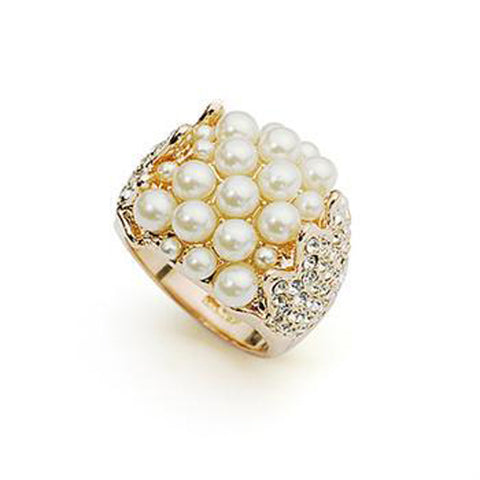 Genuine Italina Gold plated 100% Austria Pearl Rings Jewelry for women - onlinejewelleryshopaus