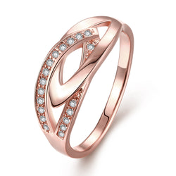 High Quality Designs 18 K Rose Gold Cubic Zircon Infinity Rings For Women Girls Wedding Engagement Anillos Jewelry Accessory - onlinejewelleryshopaus