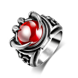 Hot Retro 316L Men's Gothic Charm Red Zircon Stainless Steel Silver Paw Women Ring Jewelry Size 8-11 - onlinejewelleryshopaus