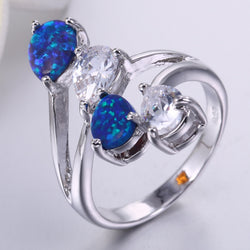 ZHE FAN Brown White Pink Blue Fire Opal Stone Women Rings Big Luxury AAA Cubic Zircon Party Valentines Day Gift Brand Jewelry - onlinejewelleryshopaus
