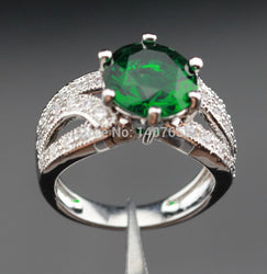 Green Created Emerald White CZ Engagement Rings For Women Silver Jewelry  Free Jewelry Box R440 - onlinejewelleryshopaus
