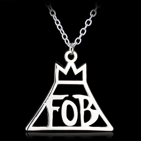 10PCS/Lot Jewelry Fashion Band Fall Out Boy FOB Logo Metal Pendant Necklace Custom Accepted Gift Box - onlinejewelleryshopaus
