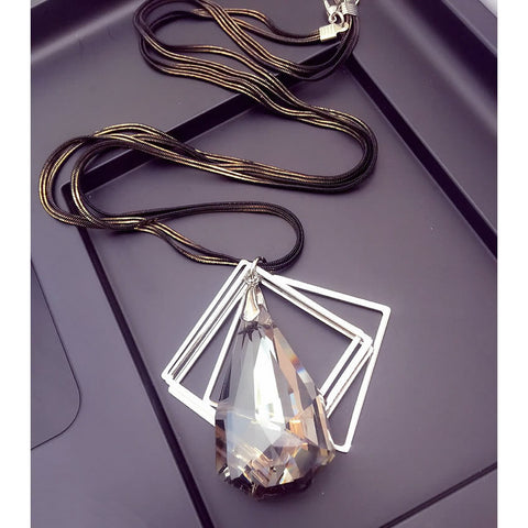 2015 New Arrival Women Pendant Necklaces Large Drops Of Crystal Trapezoidal Long Necklace Pendant Necklace Decoration Personalit - onlinejewelleryshopaus