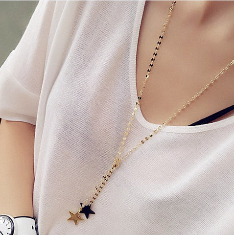2016 Korean Fashion Women Accessories Allloy Pendant Necklace Five-pointed stars Long Necklace Sweater Chain - onlinejewelleryshopaus