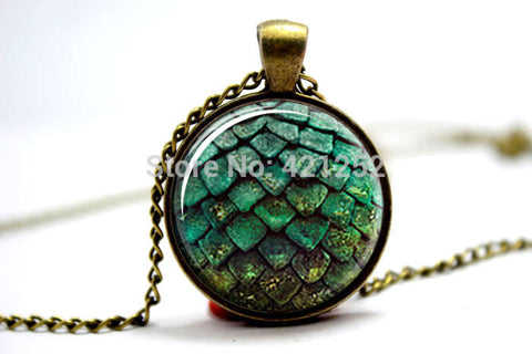 10pcs/lot  Game of thrones green dragon egg glass cabochon dome Pendant necklace - onlinejewelleryshopaus