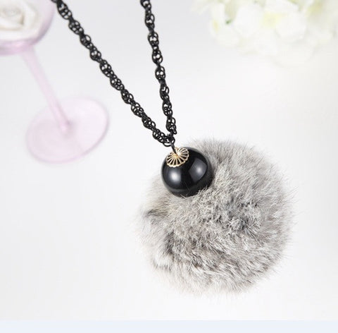 2015 Fashion  Sweater  Chain Long Tassel Big Fur Winter Maxi  Necklace Pendant Necklace For Women - onlinejewelleryshopaus