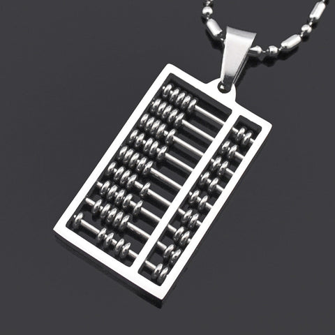 2016 Fashion New Abacus Pendant Necklace 316L Stainless Steel Geometric Maths number High Quality Free Shipping Wholesale BP1277 - onlinejewelleryshopaus